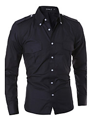 cheap -HOT Men cultivating long-sleeved shirt casual fashion solid color epaulette double pocket shirt MDUM28