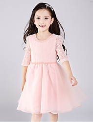 cheap -A-Line Short / Mini Flower Girl Dress - Lace Tulle Half Sleeves Jewel Neck with Bow(s) by Amgam