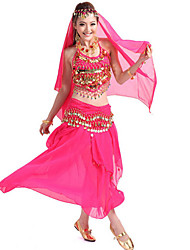 Shall We Belly Dance Outfits Women 4 Pieces Skirt/Top/Belt/Scarf
