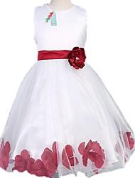 abordables -Robe Fille de Jacquard Polyester Eté Sans Manches Noeud Jaune Fuchsia Rouge Bleu Rose