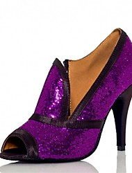 Women's Latin Ballroom Dance Shoes Jazz / Salsa / Samba Satin / Sparkling Glitter Heel Sandals Black Purple Customizable