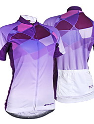 cheap -Nuckily Women's Short Sleeve Cycling Jersey - Purple Gradient Bike Jersey, Ultraviolet Resistant, Summer, Polyester / Breathable / Stretchy / Breathable / Lycra / Reflective Strips