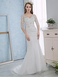 cheap -Mermaid / Trumpet V Neck Court Train Lace / Satin Made-To-Measure Wedding Dresses with Crystal / Appliques / Lace by / Sparkle & Shine