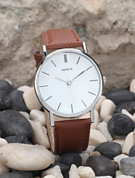 cheap -Men's Quartz Wrist Watch Casual Watch Leather Band Minimalist Black / White / Brown / Gold