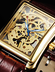 cheap -SEWOR Men's Square Gold Dial Black Leather Band Manual Mechanical Skeleton Wrist Watch(Assorted Color) Cool Watch Unique Watch