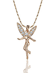 Women's Pendant Necklaces Crystal Simulated Diamond Alloy Wings / Feather Silver Rose Gold Jewelry