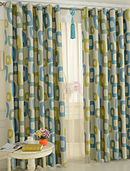 cheap -Rod Pocket Grommet Top Tab Top Double Pleat Pencil Pleat Two Panels Curtain Modern, Print Cartoon Bedroom Polyester Material Blackout