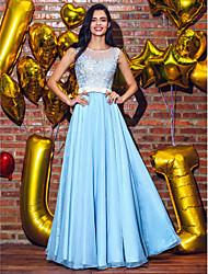Evento Formal Vestido - Transparente Corte en A / Princesa Cuchara Hasta el Suelo Raso con Apliques / Detalles con Perlas / Cinta / Lazo