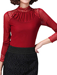 cheap -Spring Plus Size Women's Fashion Lace Splicing Gauze Stand Collar Long Sleeve Slim Bottoming T-Shirt Tops Blouse