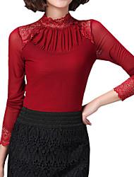 povoljno -Veći konfekcijski brojevi Bluza Žene Dnevno Jednobojni Kolaž Ruska kragna Čipka Mrežica