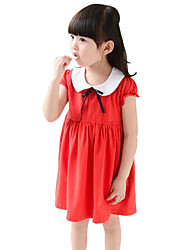 cheap -Girl's Floral Dress, Cotton Summer Short Sleeves Bow Red