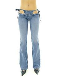 baratos -Mulheres Cintura Baixa Bootcut Perna larga Jeans Calças - Sólido