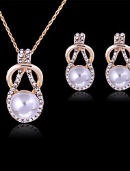 cheap -Lucky Doll Women's Vintage Rose Gold Plated Imitation Pearl Rhinestone Necklace & Earrings Jewelry Sets
