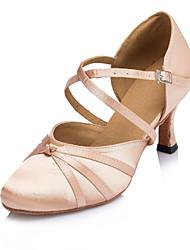 cheap -Women's Modern Shoes Satin Sandal / Heel Buckle / Ruffles Customized Heel Customizable Dance Shoes Black / Pink / Indoor / Performance