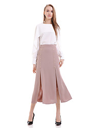 cheap -Women's Daily Work Midi Skirts,Street chic A Line Polyester Solid Spring Fall