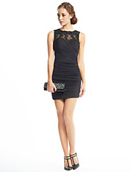 cheap -Sheath / Column Illusion Neck Short / Mini Jersey / Beaded Lace Little Black Dress Cocktail Party Dress with Appliques / Criss Cross by TS Couture®