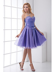 cheap -A-Line Sweetheart Knee Length Taffeta Bridesmaid Dress with Bow(s) Crystal Detailing by LAN TING BRIDE®