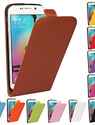 billiga -iCoverCase fodral Till Samsung Galaxy Samsung Galaxy-fodral Lucka Fodral Enfärgad Äkta Läder för S6 edge plus / S6 edge / S6