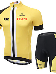 cheap -XINTOWN Short Sleeves Cycling Jersey with Shorts - Black Yellow Bike Shorts Jersey Clothing Suits, Quick Dry, Ultraviolet Resistant,