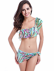 cheap -TS - Cozy Sunshine Women's Boho Off Shoulder Tankini - Color Block Ruffle