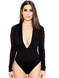 cheap -Women's Sexy Bodycon Deep V Neck Long Sleeve Bottoming Jumpsuit