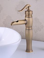 abordables -Robinet lavabo - Jet pluie Laiton Antique Set de centre Mitigeur un trou