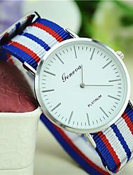 baratos -Homens / Mulheres / Unisexo Relógio de Moda Tecido Banda Listras Preta / Branco / Vermelho