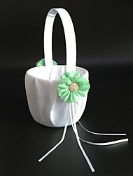 """Недорогие -цветочная корзина атласная 9 """"(23 см) лепестки ленточки 1 свадебная церемония"""