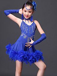 cheap -Latin Dance Dresses Children's Performance 6 Pieces Fuchsia / Red / Royal Blue