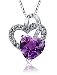 cheap -Women's Crystal Sterling Silver Zircon Rhinestone Pendant Necklace  -  Fashion Purple Necklace For Party Daily Casual
