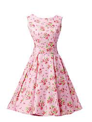 cheap -Women's Vintage Cotton A Line Dress - Floral Flower