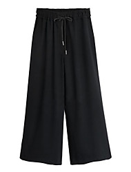Women's Wide Leg Solid Black Loose/Wide Leg Pants,Plus Size/Street chic