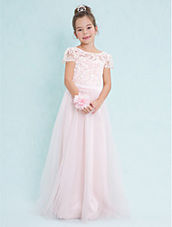 A-Line Scoop Neck Floor Length Lace Tulle Junior Bridesmaid Dress with Lace by LAN TING BRIDE®