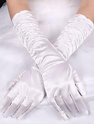 Недорогие -Шёлк Эластичный сатин До локтя Перчатка Свадебные перчатки With Бант