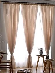 cheap -Rod Pocket Grommet Top Tab Top Double Pleat Pencil Pleat Two Panels Curtain European, Jacquard Solid Bedroom Polyester Material Sheer