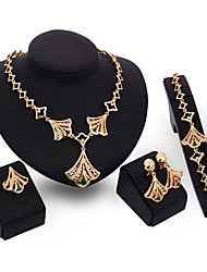 Jewelry Set Vintage Party Link/Chain European Cubic Zirconia Gold Plated Bracelet Necklace Earrings Ring