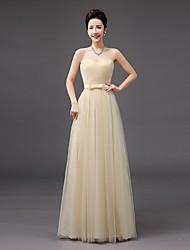 abordables -gaine / colonne sweetheart longueur du plancher tulle robe de demoiselle d'honneur avec arc par qqc nuptiale