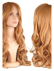 European Style Fashion Beauty Cosplay Curly Brown Color Synthetic Hair Wig