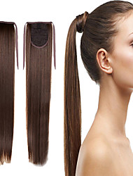 cheap -Brown Synthetic Ponytail Straight Micro Ring Hair Extensions Ponytail 16inch gram Medium(90g-120g) Quantity