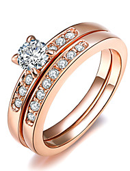 cheap -Women's Statement Ring Crystal Silver Golden Imitation Diamond Alloy Four Prongs Classic Fashion Wedding Party Costume Jewelry