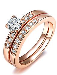 Žene Prsten Izjave Kristal Pink Zlatan Imitacija dijamanta Legura Četiri drška Klasik Moda Vjenčanje Party Nakit odjeće
