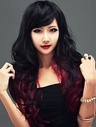 European Capless Ombre Long High Quality Curly Synthetic Hair Wig