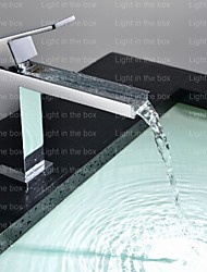 cheap -Contemporary Tub And Shower Waterfall Ceramic Valve One Hole Single Handle One Hole Chrome, Shower Faucet Bathtub Faucet Bathroom Sink