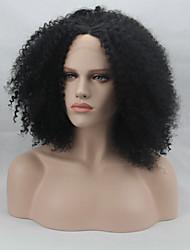 модные синтетические парики фронта шнурка Afro фигурная черный жаростойкий волосы парики женщин