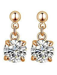 Brincos Compridos Cristal Estilo simples Zircônia Cubica imitação de diamante Liga Quatro dentes Prata Ouro Rose Jóias Para 2pçs