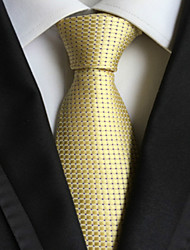 cheap -Men's Fashion Light Golden Checked JACQUARD WOVEN Necktie Necktie