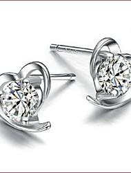 cheap -925 Silver Sterling Silver Jewelry Earrings Sample Lovely Heart Stud Earring 1Pair