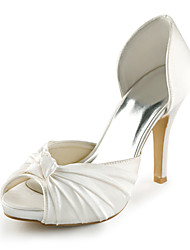 cheap -Women's Spring / Summer Heels / Peep Toe Stretch Satin Wedding / Dress / Party & Evening Stiletto Heel Bowknot Ivory