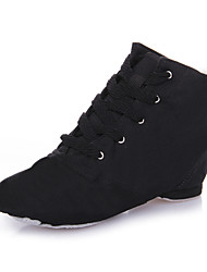 cheap -Men's / Women's Jazz Shoes Satin / Cotton Full Sole / Sneaker Indoor / Performance / Outdoor Flat Heel Non Customizable Dance Shoes Black