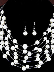 cheap -Women's Layered Jewelry Set - Pearl, Imitation Pearl European, Fashion, Multi Layer Include For Wedding / Party / Daily / Earrings